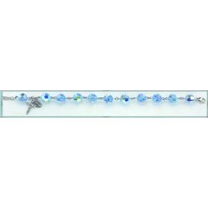 10mm Round Faceted Light Sapphire Swarovksi Crystal Bead Bracelet