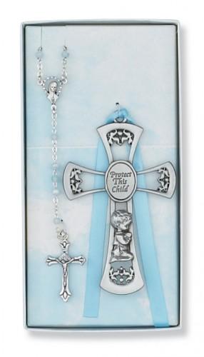 Pewter Boy Cross/Rosary Set