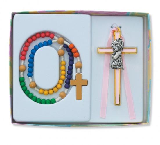 Kiddee Rosary/Girl Crucifix Set