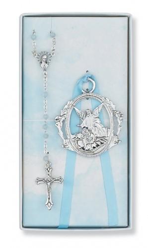 Blue Rosary & Crib Medal