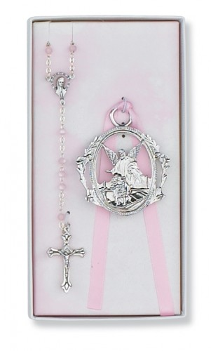 Pink Rosary & Crib Medal