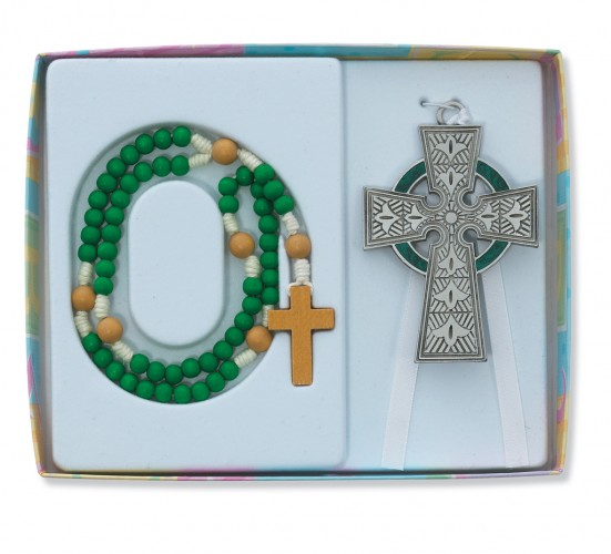 Celtic Crib Cross/Rosary Set