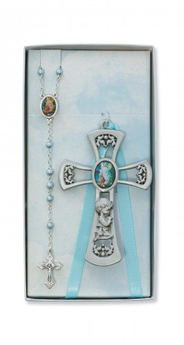 Pewter Boy Cross with G.A. Rosary Set