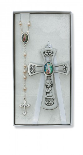 Pewter Girl Cross with G.A. Rosary Set