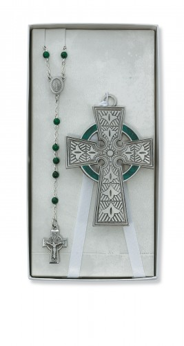 Celtic Crib Cross & Rosary Set