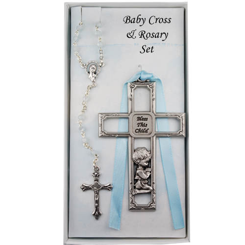 Pewter Boy Cross & Rosary Set