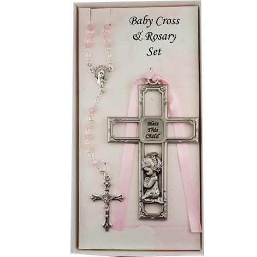 Pewter Girl Cross & Rosary Set