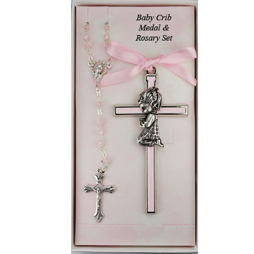 Girl'S Cross & Rosary Set