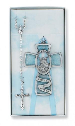 Blue Guardian Angel/Rosary Set