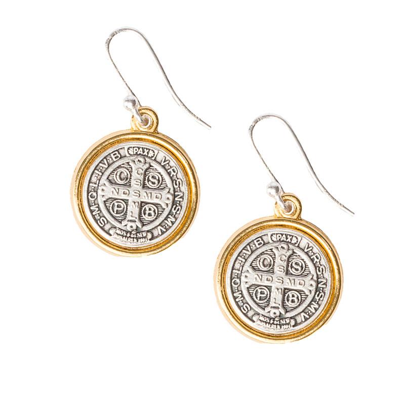Benedictine Gold Rim Earrings