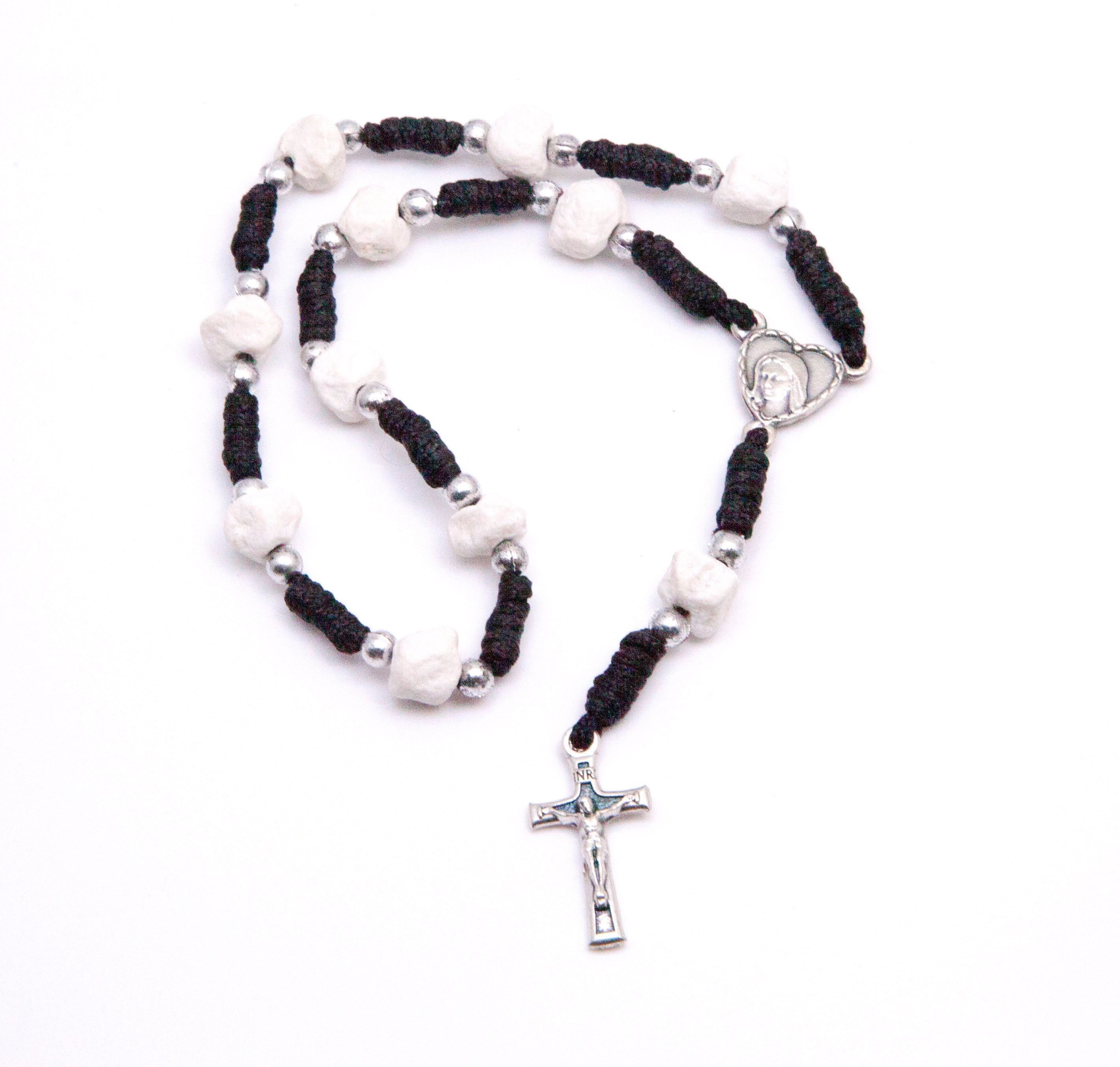 Medjugorje Stone One-Decade Rosary with Black Cord