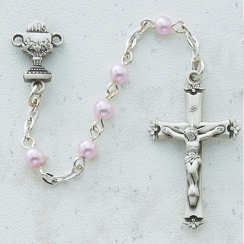 Sterling Silver 5MM Pink Pearl Communion Rosary