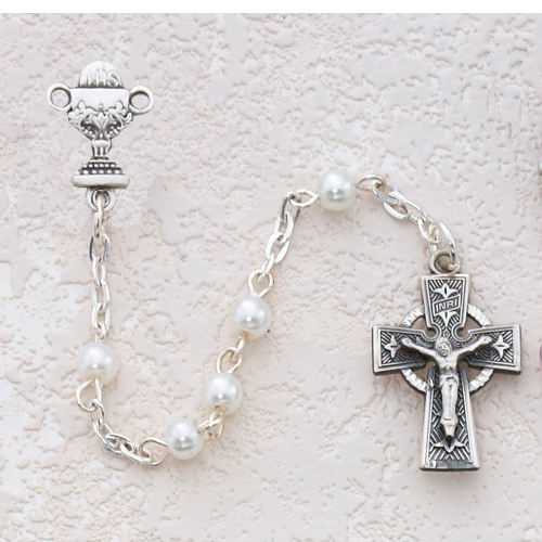Sterling Silver 5MM White Communion Rosary