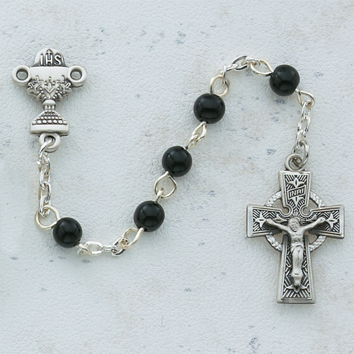 Sterling Silver 5MM Black Celtic Communion Rosary