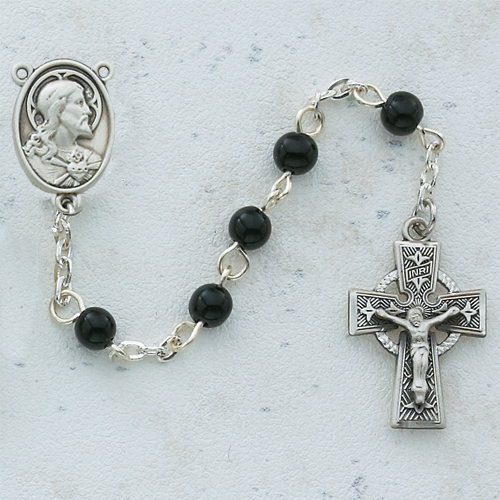 Sterling Silver 5MM Black Celtic Rosary