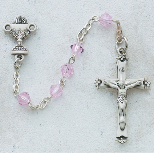 Sterling Silver 5MM Pink Communion Rosary