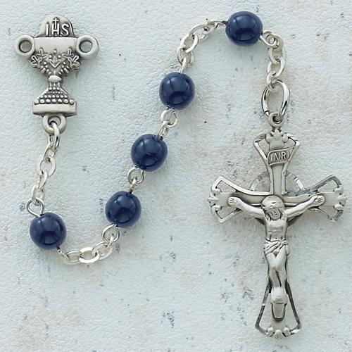 5MM Bue Glass Communion Rosary