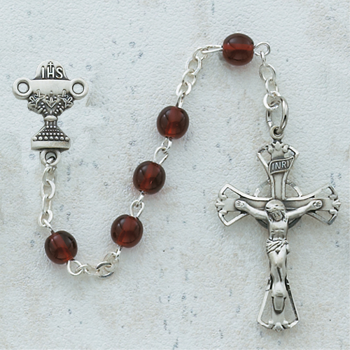 Sterling Silver 5MM Garnet Communion Rosary