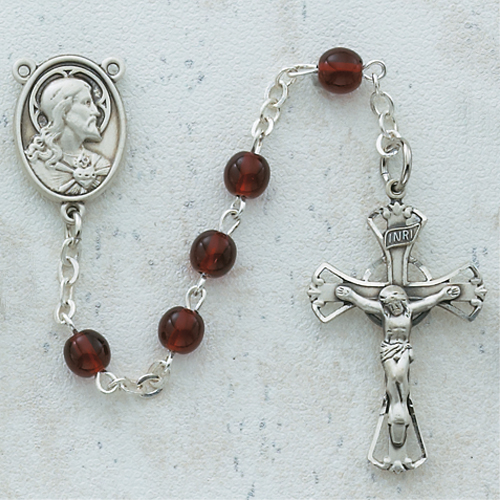Sterling Silver 5MM Garnet Rosary