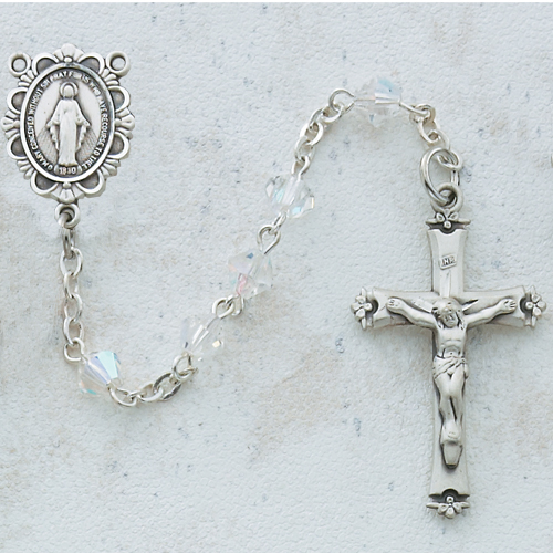 Sterling Silver 5MM Crystal Rosary