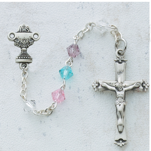 Sterling Silver 5MM Multi Crystal Communion Rosary
