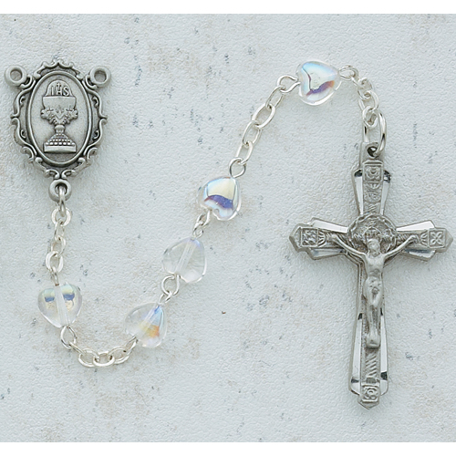 6X6 Crystal Heart Communion Rosary