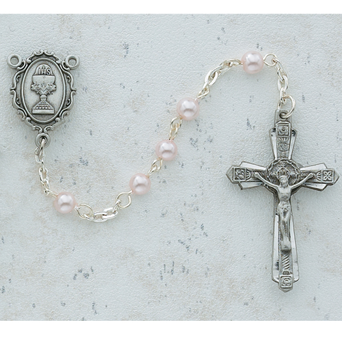 4MM Pink Pearl Communion Rosary
