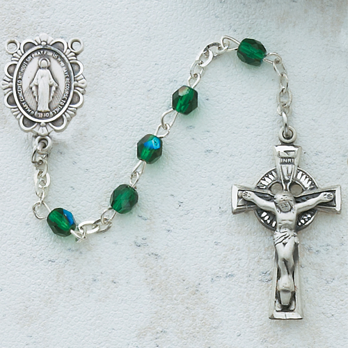 Sterling Silver 4MM Green Irish Rosary