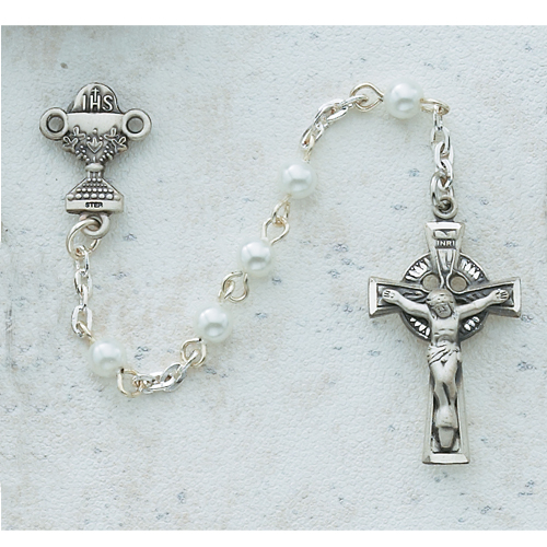 Sterling Silver 4MM Pearl Celtic Communion Rosary