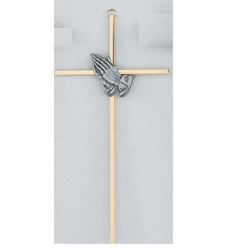 10-inch Silver Praying Hands Cross