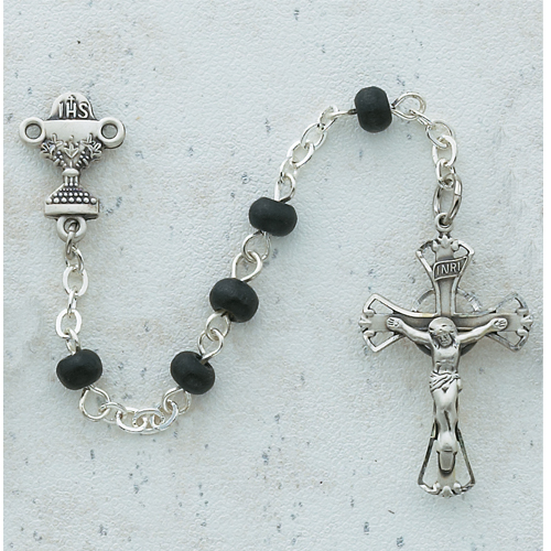 Sterling Silver Black Wood Communion Rosary