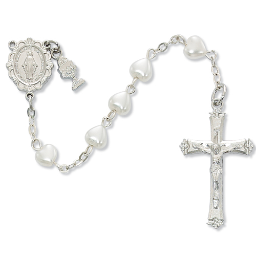 RF White Pearl Heart Rosary