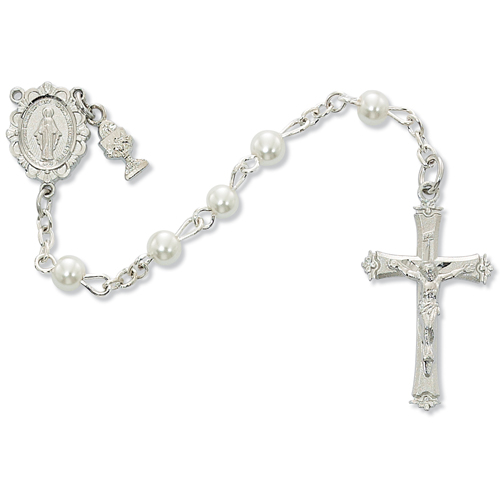 5MM Round White Pearl Rosary