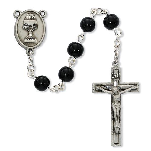 6MM Black Glass Communion Rosary