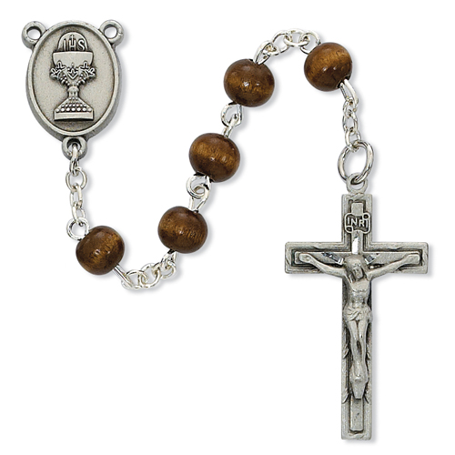 6MM Brown Wood Communion Rosary