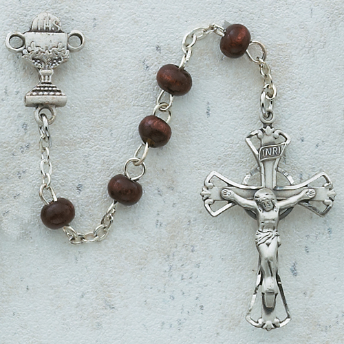 Brown Wood Communion Rosary