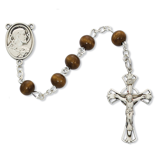 Sterling Silver 6MM Brown Wood Rosary