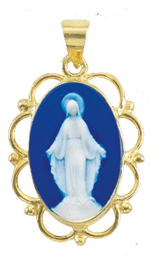 Gold Over Sterling Dark Blue Miraculous Cameo