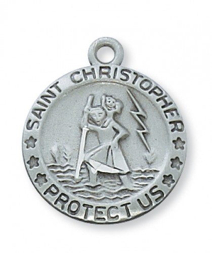 "Pewter St. Christopher with 18"" Chain"