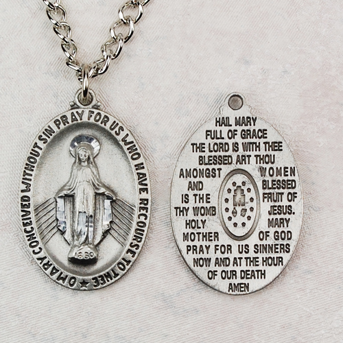 """Pewt Miraculous Hail Mary Medal 24"""""""