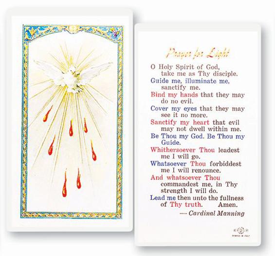 25-Pack - Prayer For Light - Holy Spirit Holy Card