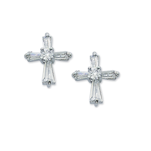 Cry Cubic Zirconia Cross Earrings/Box
