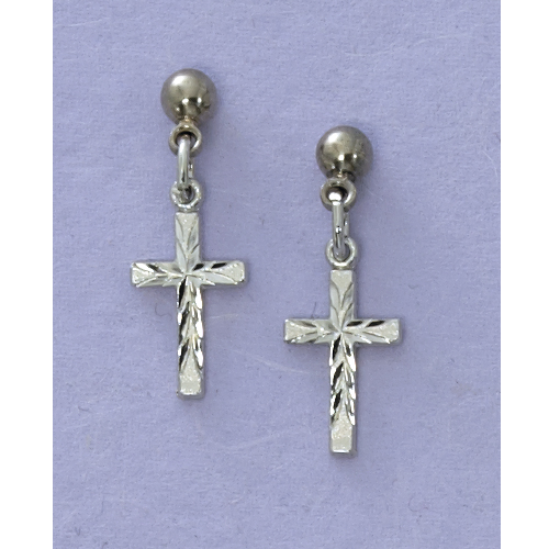 Rhodium Cross Earrings