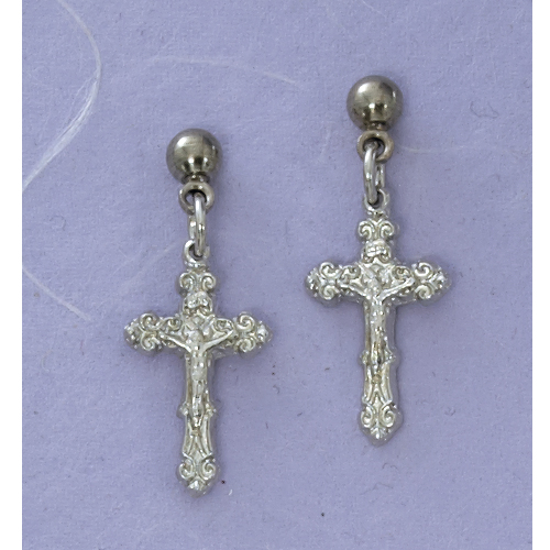 Rhodium Crucifix Earrings