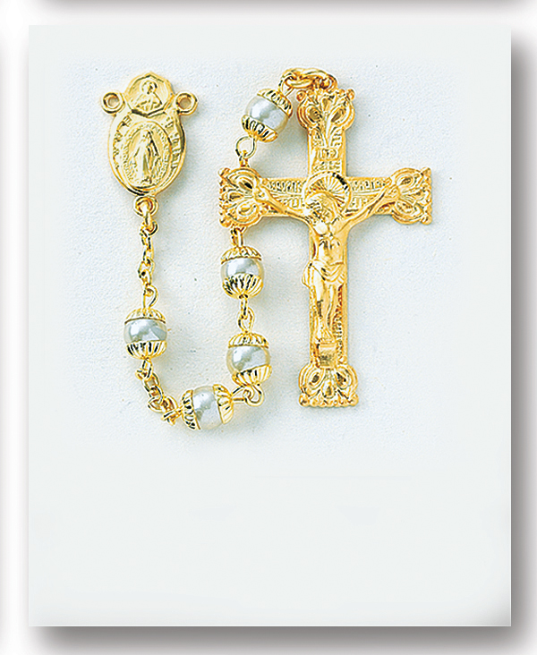 4mm Gold Over Sterling Silver Double Capped Imitation Pearl Rosary