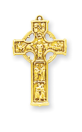 """1 1/8"""" Gold Over Sterling Silver Celtic Cross with 18"""" Chain"""