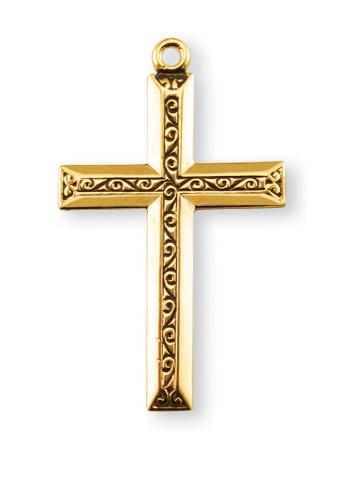 """1 1/4"""" Gold Over Sterling Silver Cross with Black Enamel and 20"""" Chain"""