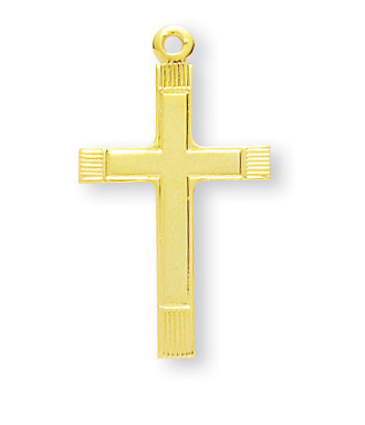 """1"""" Gold Over Sterling Silver Cross with 18"""" Chain"""