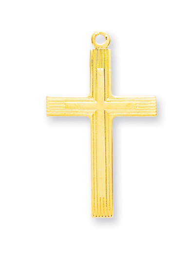 """1 1/4"""" Gold Over Sterling Silver Cross with 24"""" Chain"""