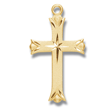 """1 1/4"""" Gold Over Sterling Silver Cross with 18"""" Chain"""